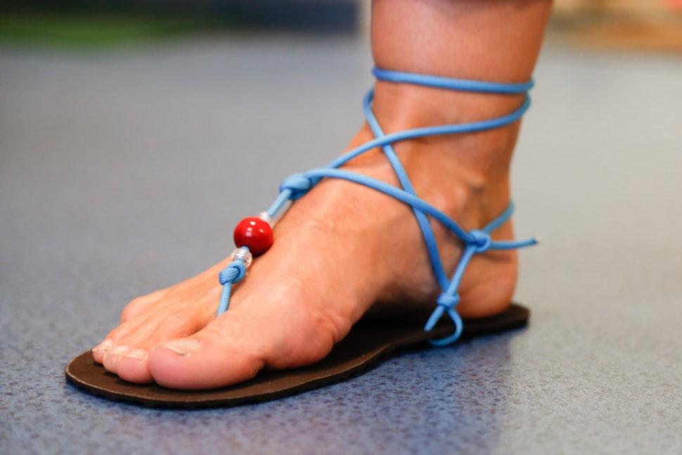 Happy Sandals Fyzio workshop - barefoot sandály modré skotníkovým úzvazem