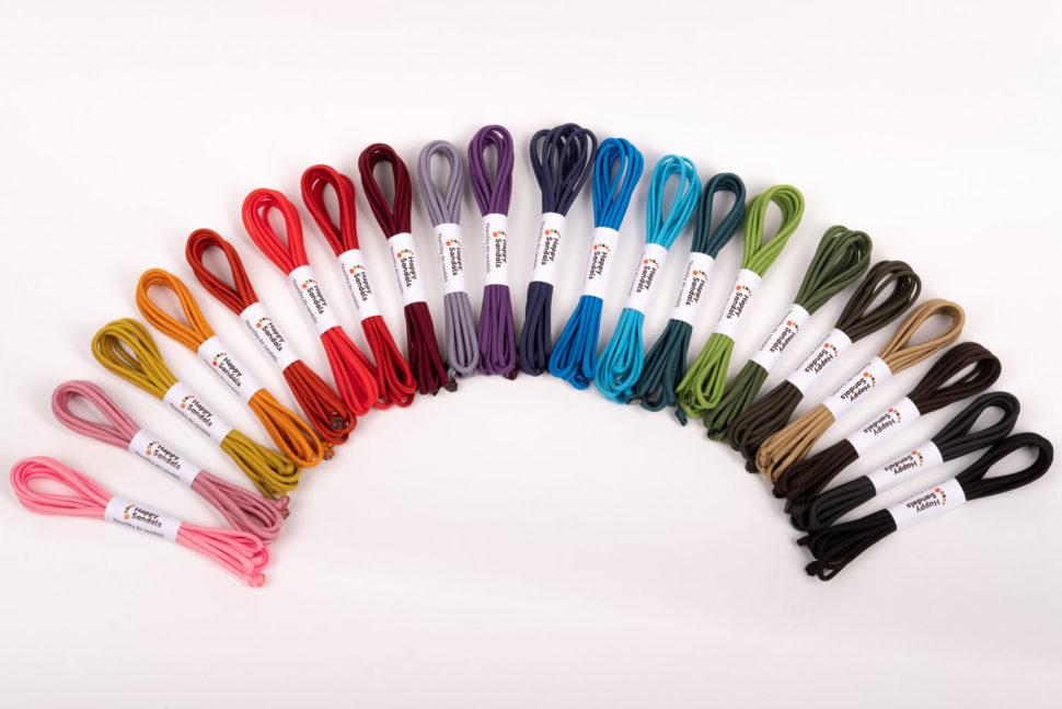 barevná škála tkaniček dohappysandals
